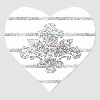 Faux Silver Leaf Damask Striped Heart Sticker Teal