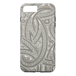Faux Silver Leather Chic Paisley Tribal Pattern iPhone 7 Plus Case