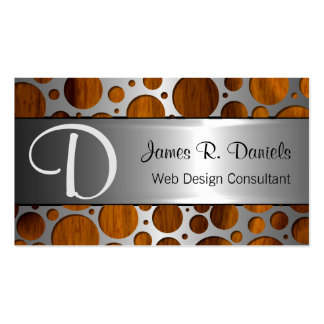 Faux Silver Metal Modern Trendy Wood Grain Pattern Double-Sided Standard Business Cards (Pack Of 100)