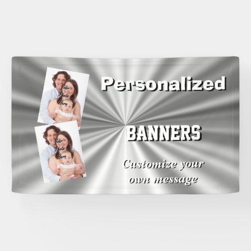 Faux silver metallic gray minimal banner