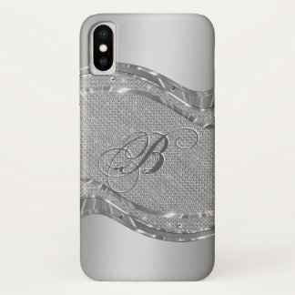 Faux Silver Metallic Look With Diamonds Accents iPhone X Case