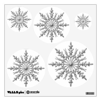 Faux Silver Metallic Winter Snowflakes on White Wall Decal