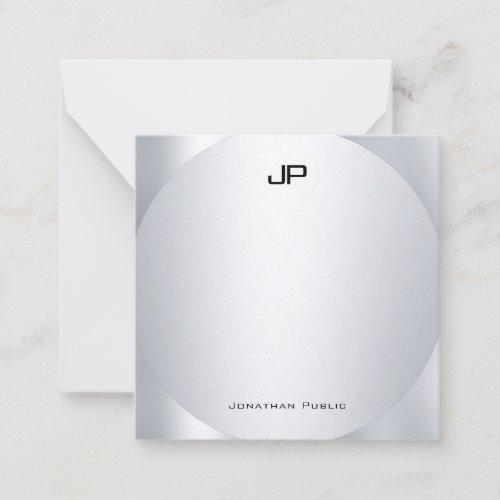 Faux Silver Monogram Personalized Elegant Template
