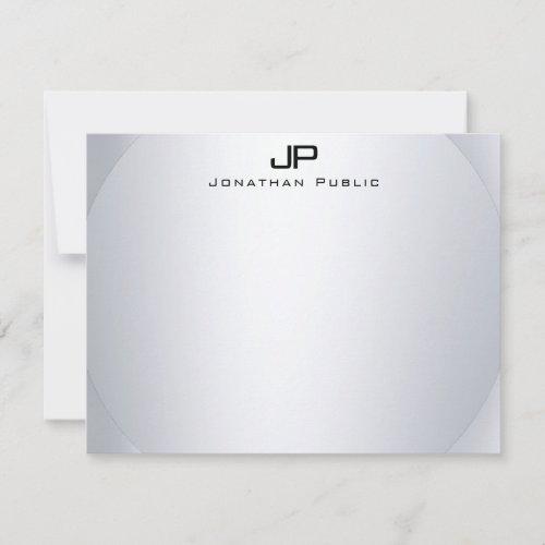Faux Silver Monogram Simple Elegant Template Top