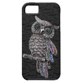 Faux Silver Owl & Jewels Black iPhone 5 iPhone 5 Case
