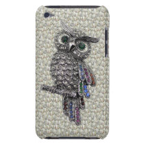 Faux Silver Owl & Jewels on Diamonds Print iPod Case-Mate Case