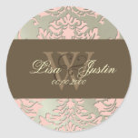 Faux silver/pink Damask monogram wedding stickers