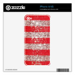 Faux Silver & Red Sequin Iphone 4 Skin