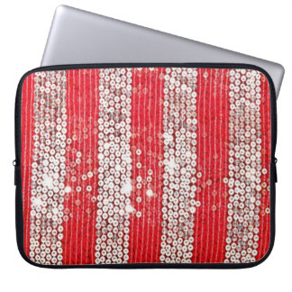 Faux Silver & Red Sequin Laptop Sleeve Case