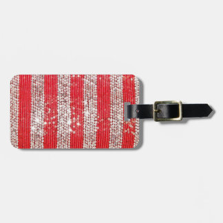 Faux Silver & Red Sequin Luggage Tag
