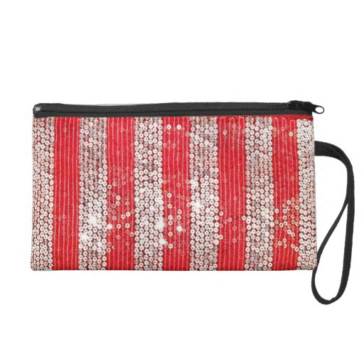 Faux Silver & Red Sequin Wristlet Coin Purse