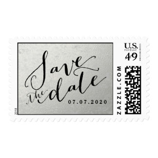 Faux Silver Save the Date Postage Stamps