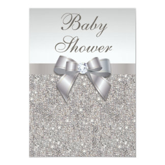"""Faux Silver Sequins and Bow Neutral Baby Shower 5"""" X 7"""" Invitation Card"""