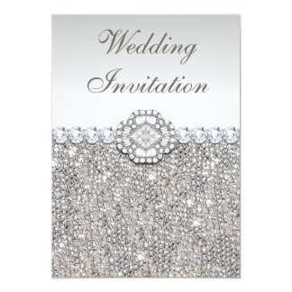 Faux Silver Sequins and Diamond Images Wedding Card