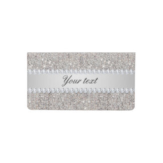 Faux Silver Sequins and Diamonds Checkbook Cover