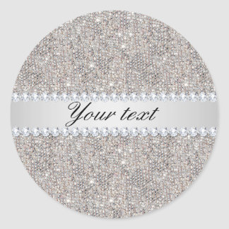 Faux Silver Sequins and Diamonds Classic Round Sticker