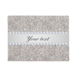 Faux Silver Sequins and Diamonds Doormat