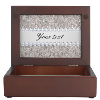 Faux Silver Sequins and Diamonds Keepsake Box