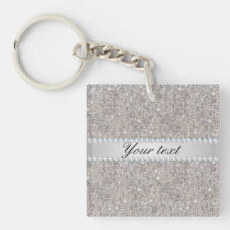Faux Silver Sequins and Diamonds Keychain