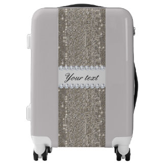 Faux Silver Sequins and Diamonds Luggage