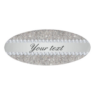 Faux Silver Sequins and Diamonds Name Tag
