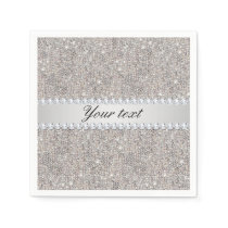 Faux Silver Sequins and Diamonds Napkin