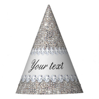Faux Silver Sequins and Diamonds Party Hat