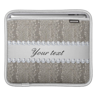 Faux Silver Sequins and Diamonds Sleeves For iPads