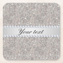 Faux Silver Sequins and Diamonds Square Paper Coaster