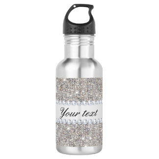 Faux Silver Sequins and Diamonds Stainless Steel Water Bottle