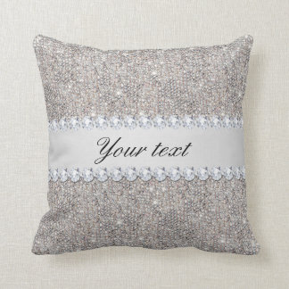 Faux Silver Sequins and Diamonds Throw Pillow
