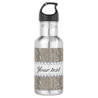 Faux Silver Sequins and Diamonds Water Bottle