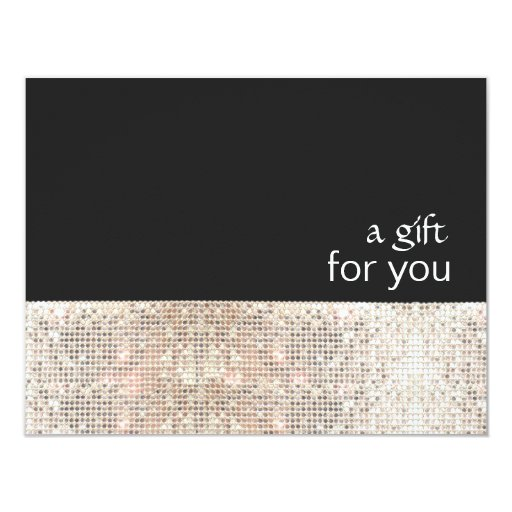 FAUX Silver Sequins Black Salon Gift Certificate 4.25x5.5 Paper Invitation Card