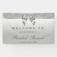 Faux Silver Sequins Bow Diamond Bridal Shower Banner