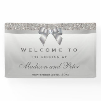Faux Silver Sequins Bow Diamond Wedding Banner
