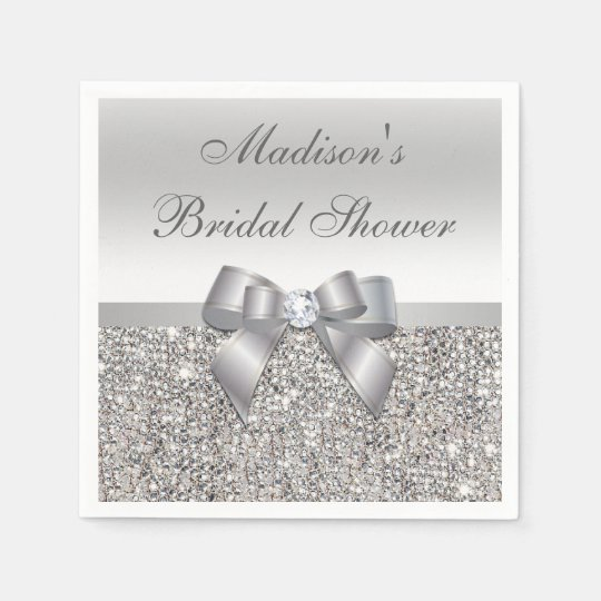 faux silver sequins bow personalized bridal shower napkin