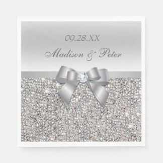 Faux Silver Sequins Bow Personalized Wedding Paper Napkin