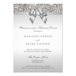 Faux Silver Sequins Bow Rehearsal Dinner Card