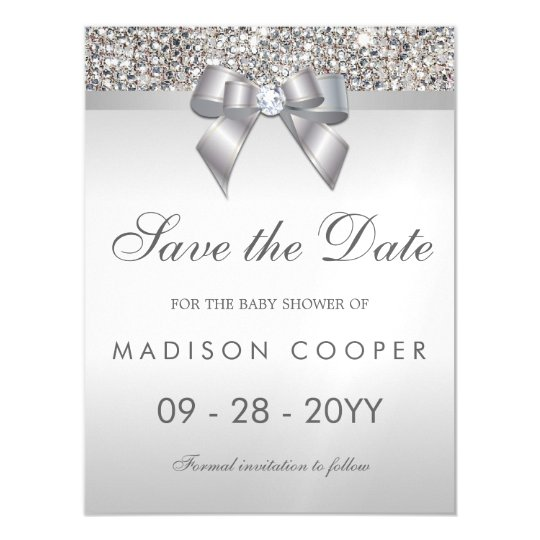 Faux silver sequins bow save the date baby shower magnetic faux silver sequins bow save the date baby shower magnetic invitation filmwisefo