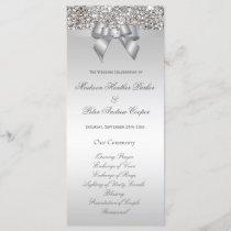 Faux Silver Sequins Bow Wedding Program