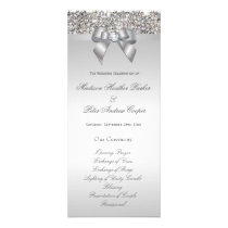 Faux Silver Sequins Bow Wedding Program