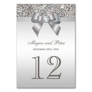 Faux Silver Sequins Bow Wedding Table Number Cards