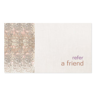 Faux Silver Sequins Customer Refer A Friend Salon Double-Sided Standard Business Cards (Pack Of 100)