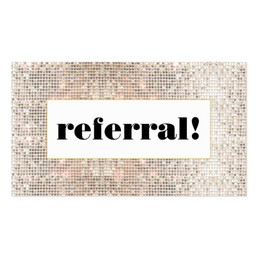 Faux silver sequins customer referral business card zazzle for Zazzle referral cards