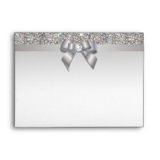 Faux Silver Sequins Diamonds and Bow Envelope