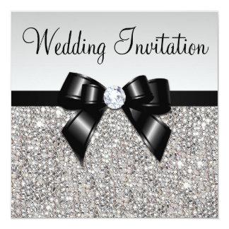 Faux Silver Sequins Diamonds Black Bow Wedding Card