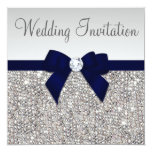 Faux Silver Sequins Diamonds Dark Navy Bow Wedding Card