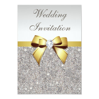 Faux Silver Sequins Diamonds Gold Bow Wedding Card