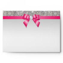 Faux Silver Sequins Diamonds Hot Pink Bow Envelope