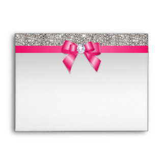 Faux Silver Sequins Diamonds Hot Pink Bow Envelope